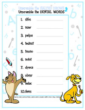 Unscramble the Dental Words activity sheet at Pediatric Dentist Office in Clarks Summit